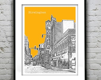 Birmingham Alabama Poster Art Print Skyline  Theater Item T1061