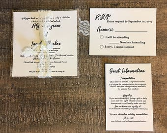 Square Wedding Invitation with burlap and lace