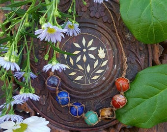 FLASH SALE Excuse me while I align my chakras - new Hemp-wrapped chakra statement necklace - mini sphere edition