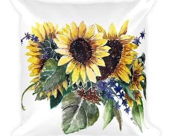 Sunflower Bouquet Square Pillow