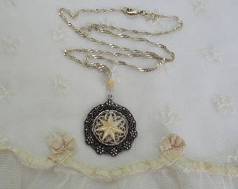Carved Mother of Pearl Star Necklace - Sterling Silver Chain & Setting - MOP