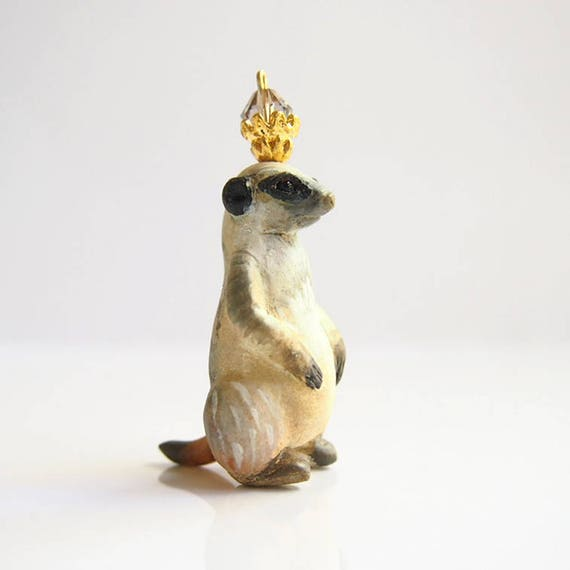 KING OF SURICATES - Handmade Polymer Clay Sculpture With a Swarovski Crystal