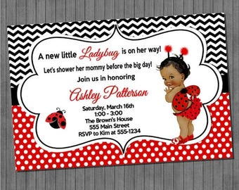 ON SALE Little Ladybug Baby Shower Invitations
