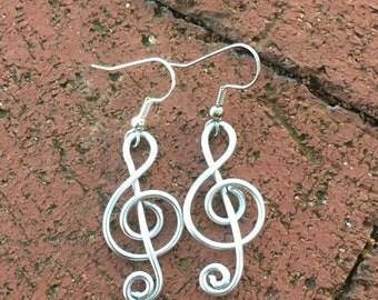 Light weight treble clef earrings