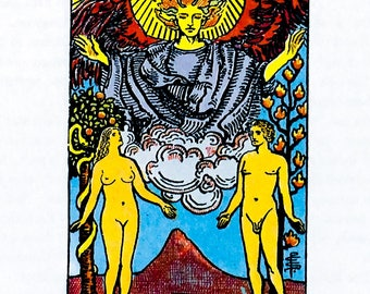 Tarot Card / Illustration / The Lovers / 1989 / Wall Art / Home Decor / nursery art