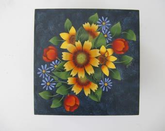 Decorative painted wood box