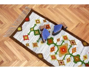 Vintage Rug // Polish Floor Kilim Runner or Wall Decor // Colorful Geometrical Pattern Rug // Kwietnik Kilim B. Nowicka T. Chrzan