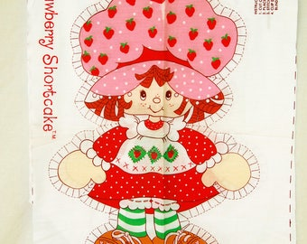 Vintage 80s Strawberry Shortcake Fabric Panel for Pillow or Soft Doll Craft Pattern