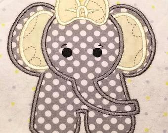 MACHINE EMBROIDERY FILE - Cute Girl Elephant Applique