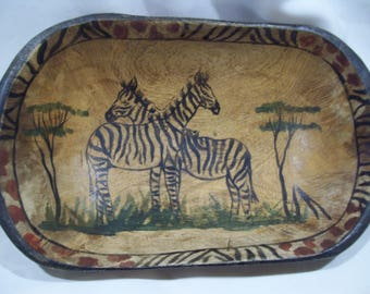 African Wood Bowl,Hand Carved and Painted Solid Wood Zebra Bowl,African Carved Zambian,Hand Carved Tribal,Kenya