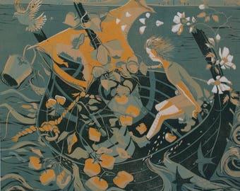 Hafren's Sail. Reduction linocut print.