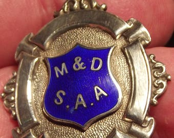 Vintage  Sterling Silver and Enamel Pocket Watch Fob Medal fully Hallmarked Birmingham 1925