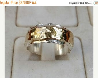SALE Silver And Gold Wedding Ring,Handmade Wedding Band ,Sterling Silver Ring ,Hammered Wedding Ring ,Bridal Unique Ring ,14K Gold Statement