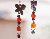 Autumn Earrings, Earrings for every day, Romantic earrings, orange earrings, dangle earrings, chalcedony earrings, beautiful earrings,