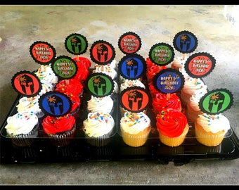 Spartan Cupcake Toppers - Primary Colors Set of 12 (6 personalized, 6 Spartan helmet)