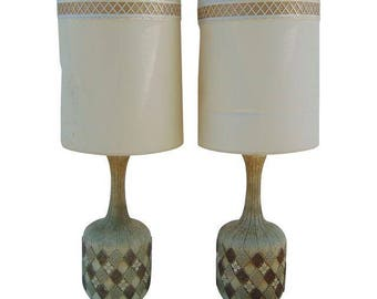 Mid Century Lamp Table Pair Boho Lampshade