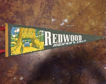 Vintage Redwood Highway California Felt Pennant, Nice Condition