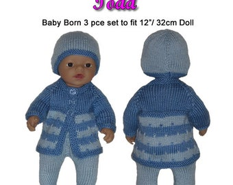 Baby Born Knitting Pattern (TODD) fits 12 inch (32cm)dolls