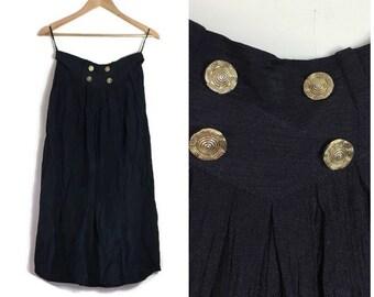 90s vintage black skirt / vintage 90s midi skirt / black skirt gold buttons / crinkle black 90s skirt / 90s grunge skirt / boho black skirt