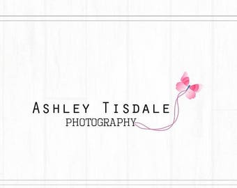 ON SALE Hand Drawn Premade Photography Watermark, Logo with Butterfly, Simple Logo, Butterfly Logo, Logo Template, Pink Logo, Pre-Made Logo,