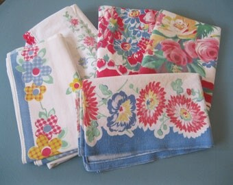 TEA towels Set of 5 all SHABBY DECOR fabrics - florals -all for use or crafts, pillows, sewing projects-good condition