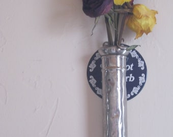 SILver antique -victorian -shabby decor flower holder with glass insert-great for wall decor or wedding display