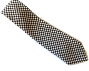 Checkered Necktie Long Wide Tie Brown and White Checks