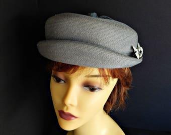 Gray Hat Rolled Brim Breton Slouchy Woven Straw