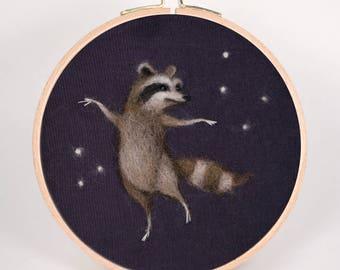 Needle Felted Dancing Raccoon