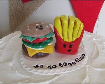 Burger & Fries Wedding Cake Topper, Hamburger and Fries Topper, Hamburger Topper, We Go Together Wedding Topper, We Go Together, Burger