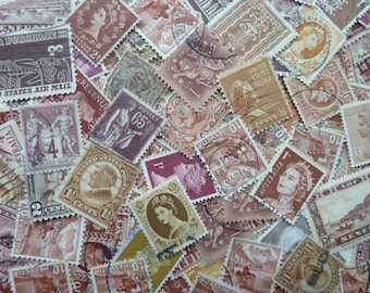 Brown Stamps  -  Lot of Worldwide Postage Stamps for Art Projects, Jewelry, Decoupage, Paper Crafts, Collage and More...