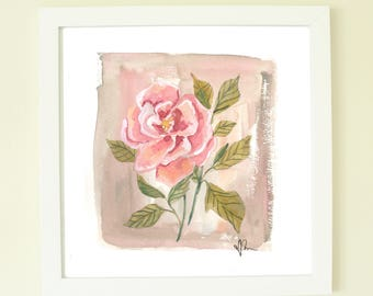 Single Pink Gouache Rose Painting, Print Available