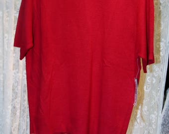 New Old Stock Red Sweater, Sag Harbor,  Size Medium Petite