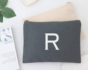 Monogram Personalized Cosmetic Makeup Bag Toiletry Travel Case Custom Initial Name Bridesmaid Gift Make Up Bag for Best Friend, Pencil Bag