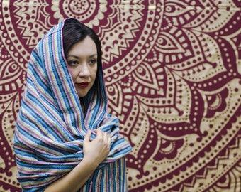 Fair Trade 9 foot Mexican Rebozo For Partera Midwife Doula Birth Blue Stripe