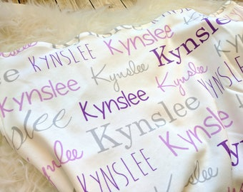 Personalized purple baby name swaddle blanket: baby and toddler personalized name newborn hospital gift baby shower gift