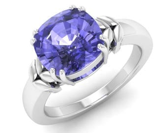 Certified Tanzanite Engagement Ring ,Solid White Gold, Cushion Cut, Solitaire Ring, Anniversary Ring, Wedding Ring, Natural AAA Tanzanite,