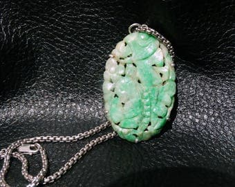 Carved Jade Necklace, Grade A Jadeite, Art Deco Jadeite Pendant, Sterling Silver, 1920s