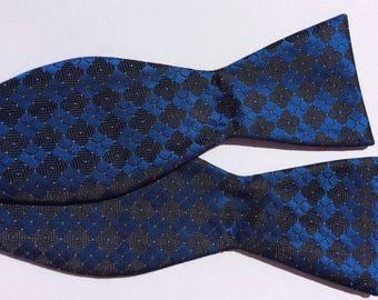 "Vintage Bow Tie Blue Black Checkered Plaid Brocade Tie Adjustable 14 1/2 - 18 20 Hand Made 2 1/2"" Wide"