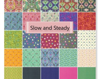 Slow and Steady by Tula Pink Layer Cake Cotton Fabric Pre Cut 42 pieces in bundle