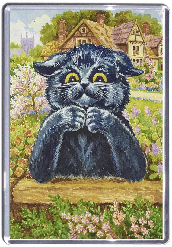 Louis Wain Thinking Cat Fridge Magnet 7cm by 4.5cm