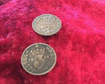 1916 Silver 3 pence coin  King George V