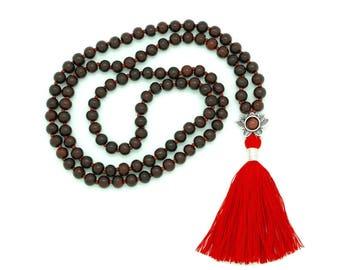 Rosewood Lotus Mala with Red Jasper, silk tassel, hand-made, 108 bead mala