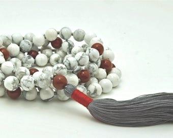 Howlite Red Jasper Meditation Mala with hand-made silk tassel, 108 bead, custom
