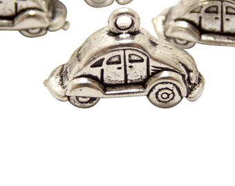 Silver Car charms Pendants Antique Car charm Vintage Car VW bug Beetle Car charms Classic Vehicle Automobile Charm Bracelet/Necklace Charms