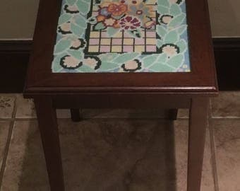 Wood Accent Table with Needlepoint Insert and Glass Top