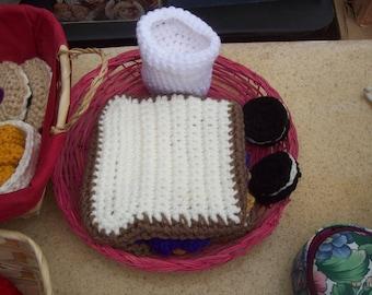 Crochet PB&J sandwich with cookies and milk