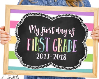 1st Grade School Sign Printable, First Day of School Sign, First Day Photo Prop, Chalkboard 1st Grade Sign, 1st Day of First Grade, Stripes