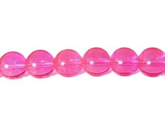 10 x 8mm NEON pink neon glass round beads