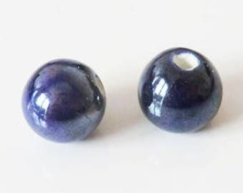 1 x Pearl handcrafted 10mm night blue porcelain